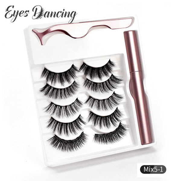 5 Pairs Magnetic Eyelashes-Liner Tweezer  Set