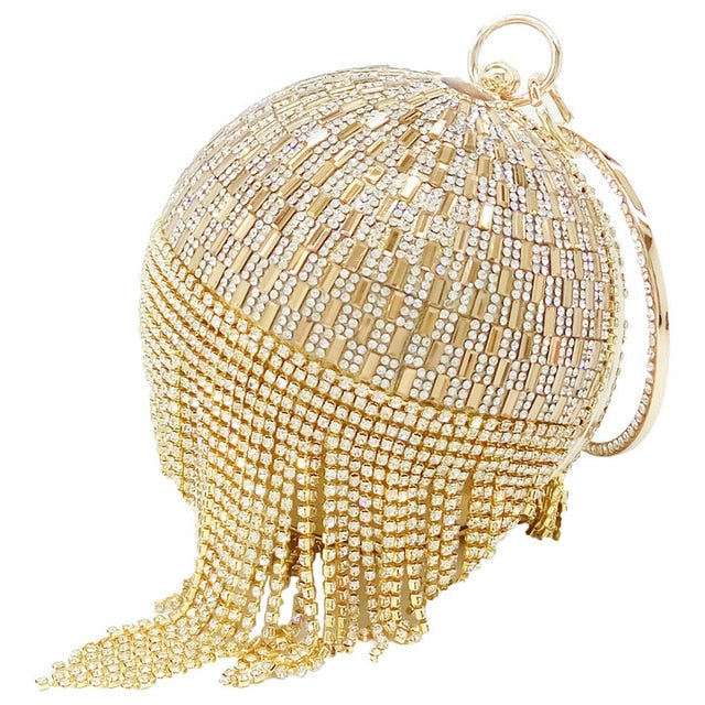 Golden Diamond Tassel Women Party Metal Crystal Clutches Evening Bags Wedding Bag Bridal Shoulder Handbag Wristlets Clutch Purse - Aifa Fashions