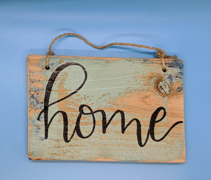 "Blue Starfish Studio ""Home"" wood sign"