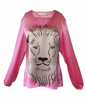 Load image into Gallery viewer, 1301 V-neck blouse Lion Pink