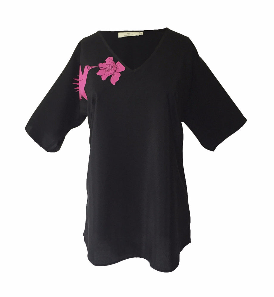 1302 V-neck short sleeve blouseHummingbird Black