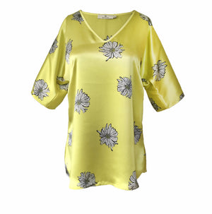 1302 V-neck short sleeve blouse Daisy Yellow