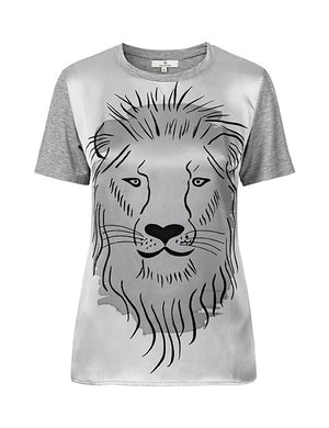 1380 Silk front T-shirt Lion Grey