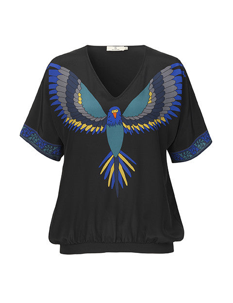 Load image into Gallery viewer, 1438 Got to have V-neck Flying bird Blue