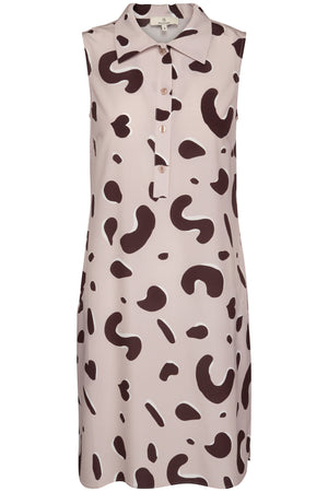 1702L Sleeveless shirt dress long Shadow leopard Sand