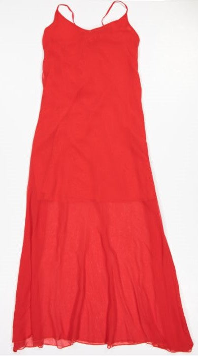 1762C Gorgeous dress Solid chiffon Red