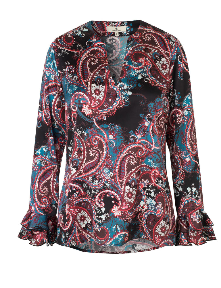 Load image into Gallery viewer, 1824 Fairy blouse Shadow paisley Black/Blue