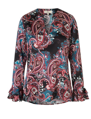 1824 Fairy blouse Shadow paisley Black/Blue