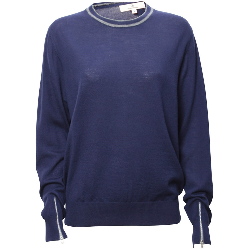 1861 Merino round neck Solid navy