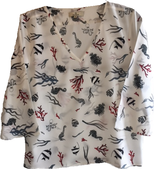 Load image into Gallery viewer, 1919 V-neck blouse Sea life White