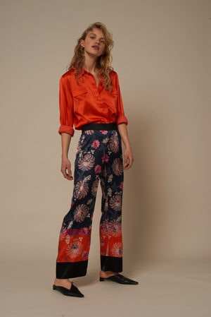 Load image into Gallery viewer, 2004 Wide pants Happy garden Black