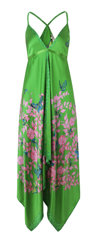 Load image into Gallery viewer, 2118 Scarf dress Bfly garden Green