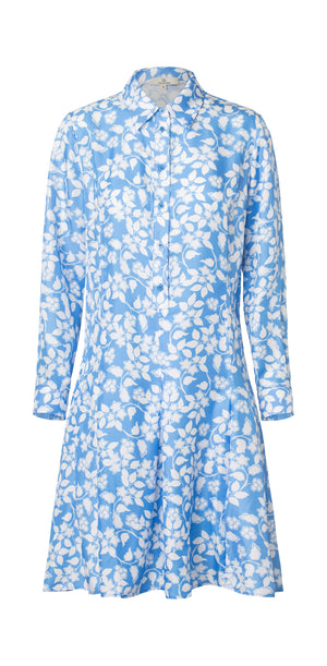 Load image into Gallery viewer, 2551 Cool shirt dress Solid flowers Blue