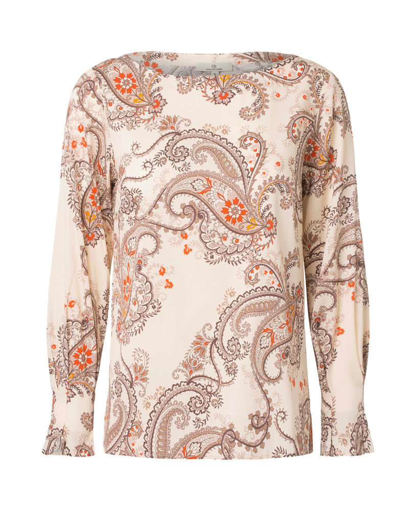 Load image into Gallery viewer, 2574 Fold sleeve blouse My paisley Cream