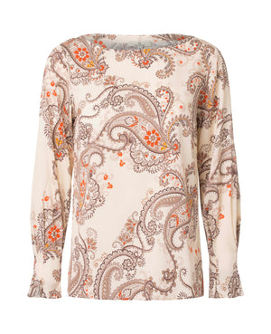 2574 Fold sleeve blouse My paisley Cream