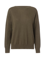 2592 Boat neck cashmere sweater Solid Kaki