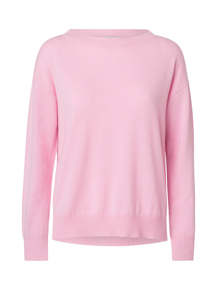 2592 Boat neck cashmere sweater Solid Rose