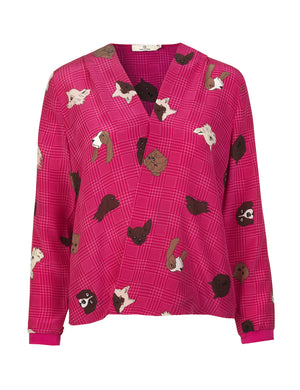 1225 Crossover blouse Cats and dogs Pink