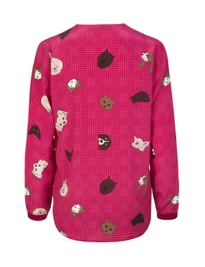Load image into Gallery viewer, 1225 Crossover blouse Cats and dogs Pink