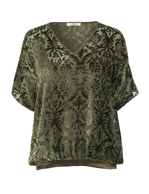 1200VV Got to have blouse Miriam allover velvet Army