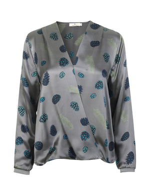 Load image into Gallery viewer, 1225 Crossover blouse Pine cone Grey