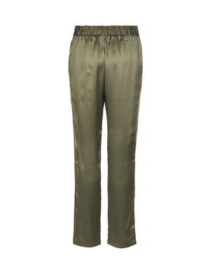 1242 Silk pants Solid satin Army