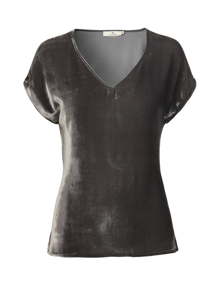 1217V Tie top Solid velvet Grey