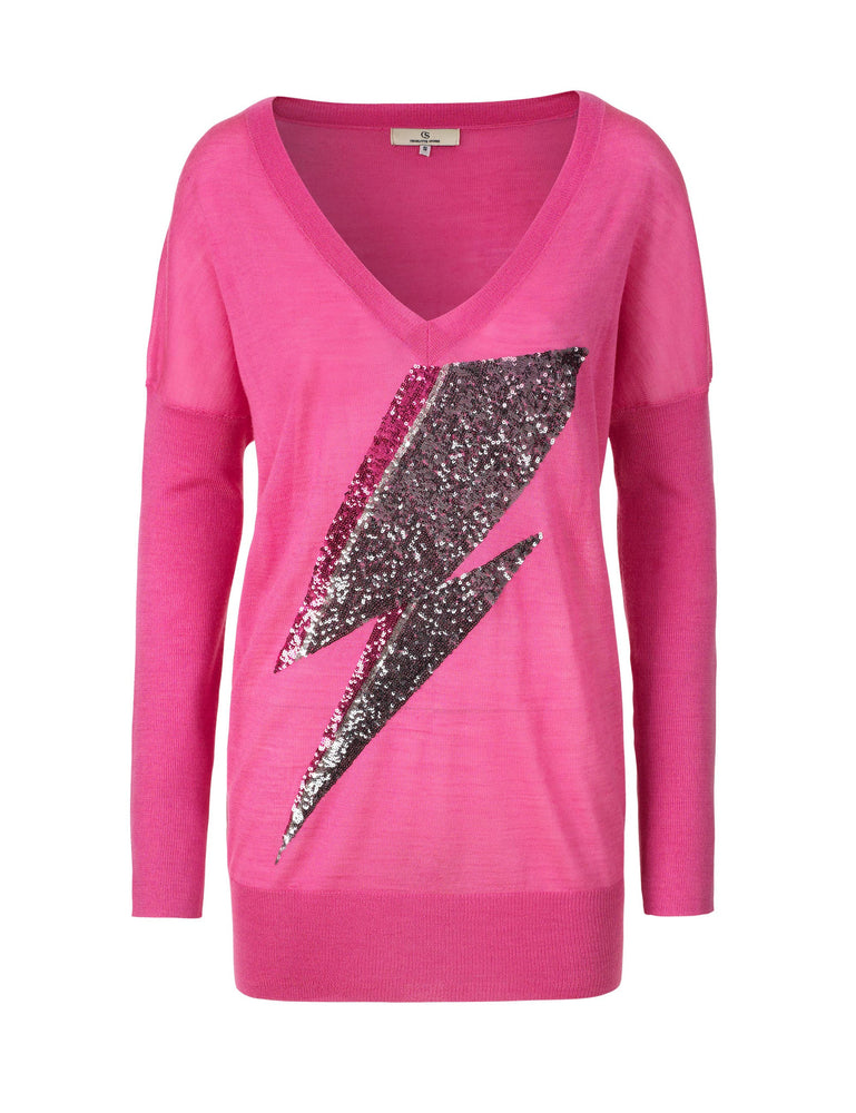 1182 Knit blouse Sequin lightning embroidery Pink