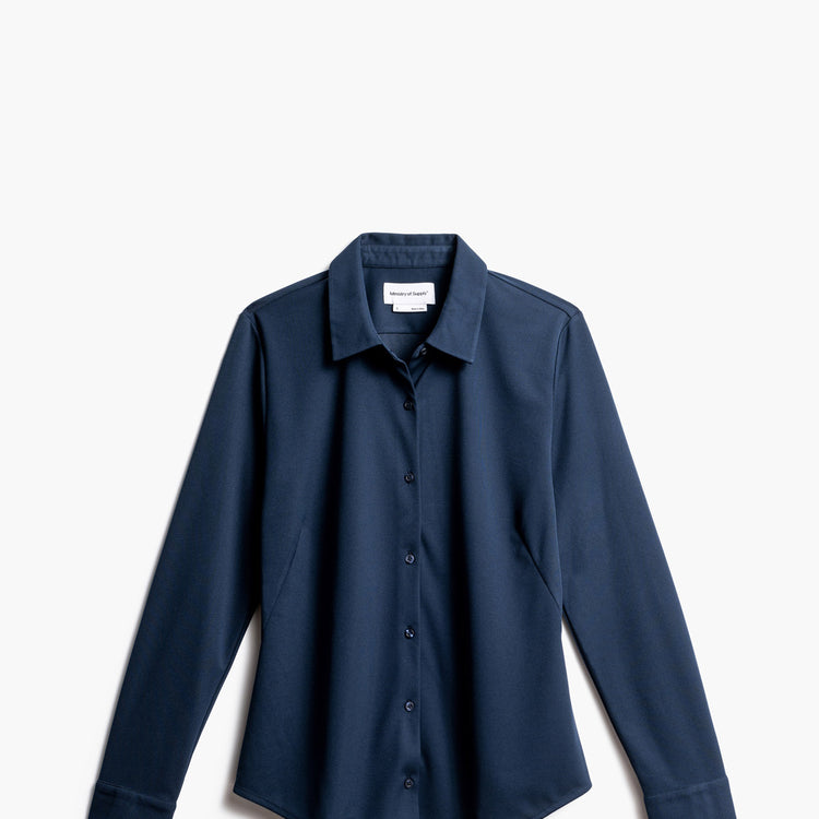 Women's Apollo Tailored Shirt - Navy (Recycled)