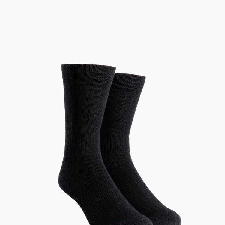 Atlas Dress Sock (AL6) - Black Rib Knit