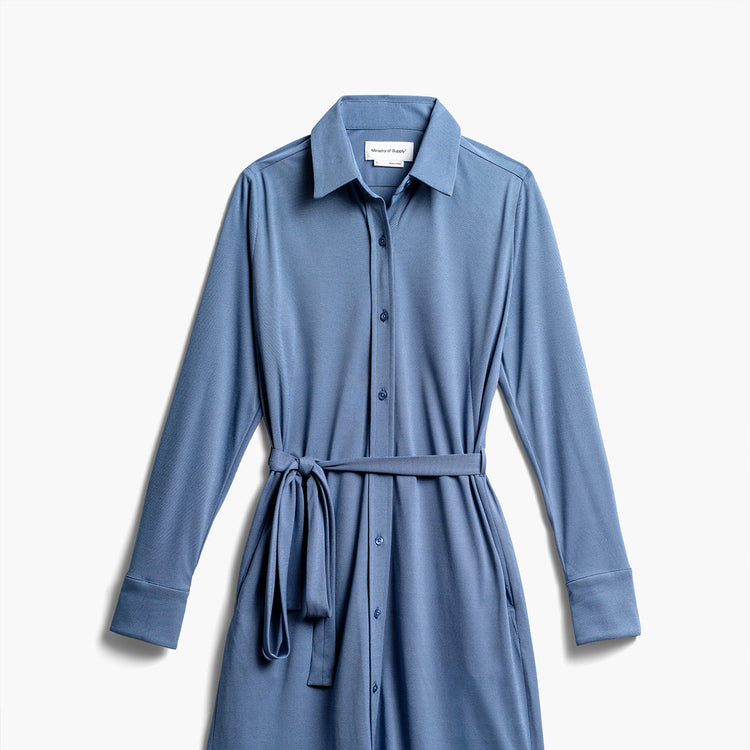 Women's Apollo Shirt Dress - Ocean Oxford (Recycled)