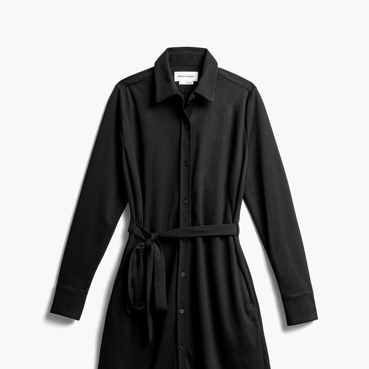 Women's Apollo Shirt Dress - Black (Recycled) (WA2)