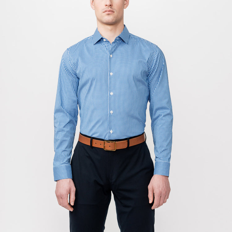 Men's Aero Dress Shirt - Blue Gingham