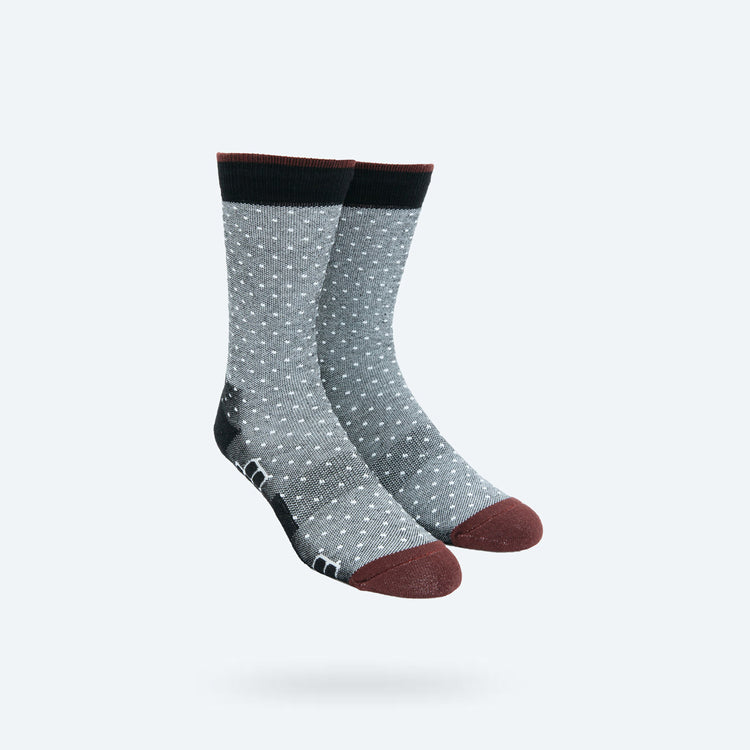 Atlas Dress Sock - Grey and White Microchecker