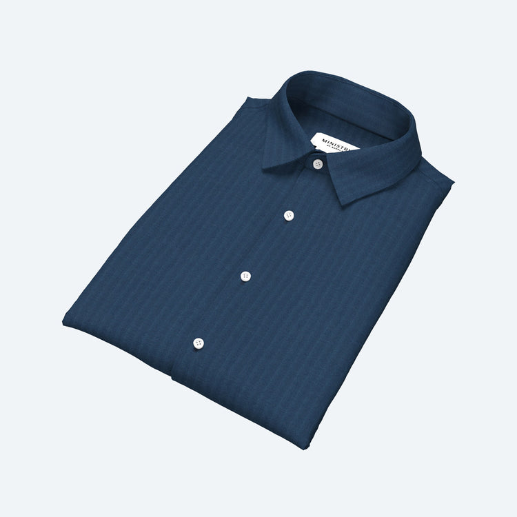 Men's Built to Order Dress  Shirt - Petrol Herringbone