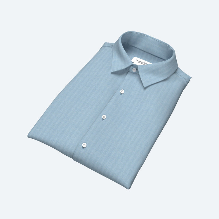 Men's Built to Order Dress  Shirt - Light Blue Herringbone