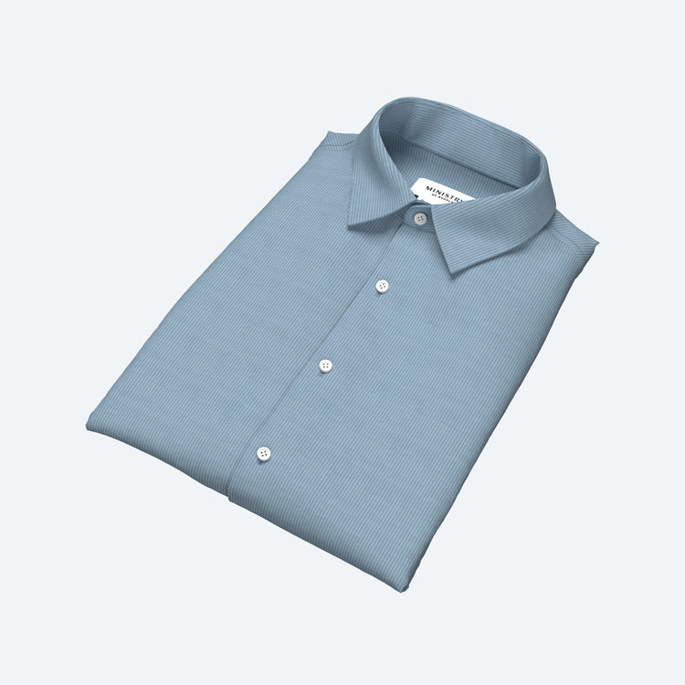 Men's Built to Order Dress  Shirt - Light Blue Stripe