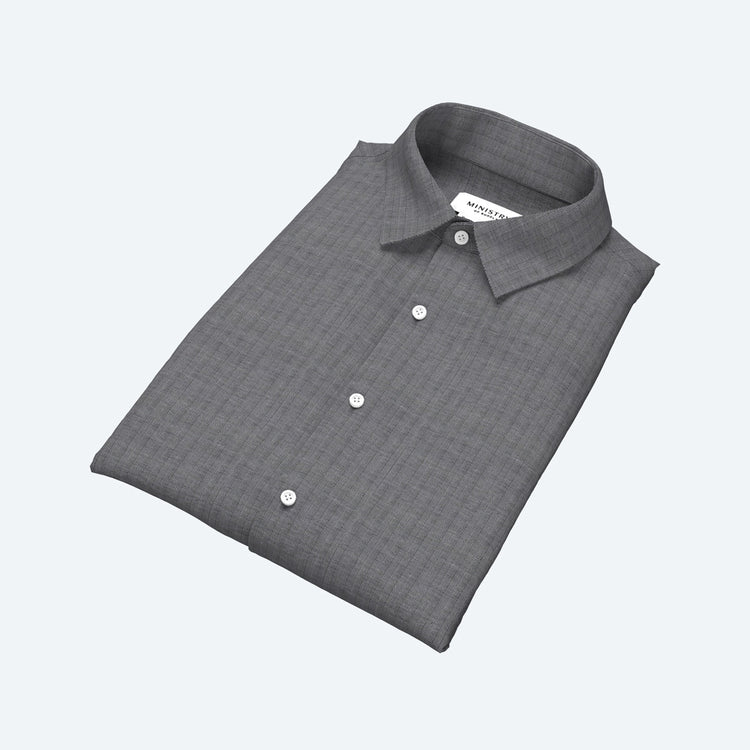 Men's Built to Order Dress  Shirt - Charcoal Herringbone