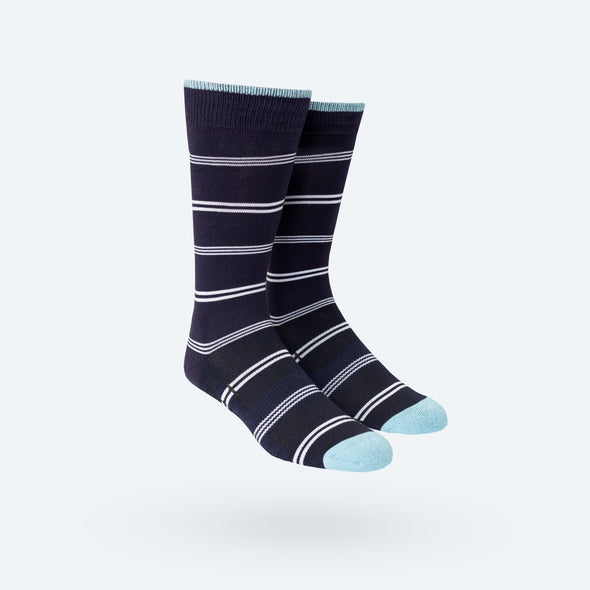 Atlas Dress Sock - Navy White Pinstripe