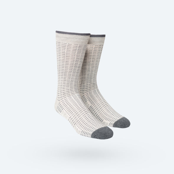 Atlas Dress Sock - Grey Dash Stripe