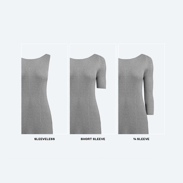 Women's Built to Order 3D Print–Knit Sweater Dress - Light Grey / Dark Grey Marled