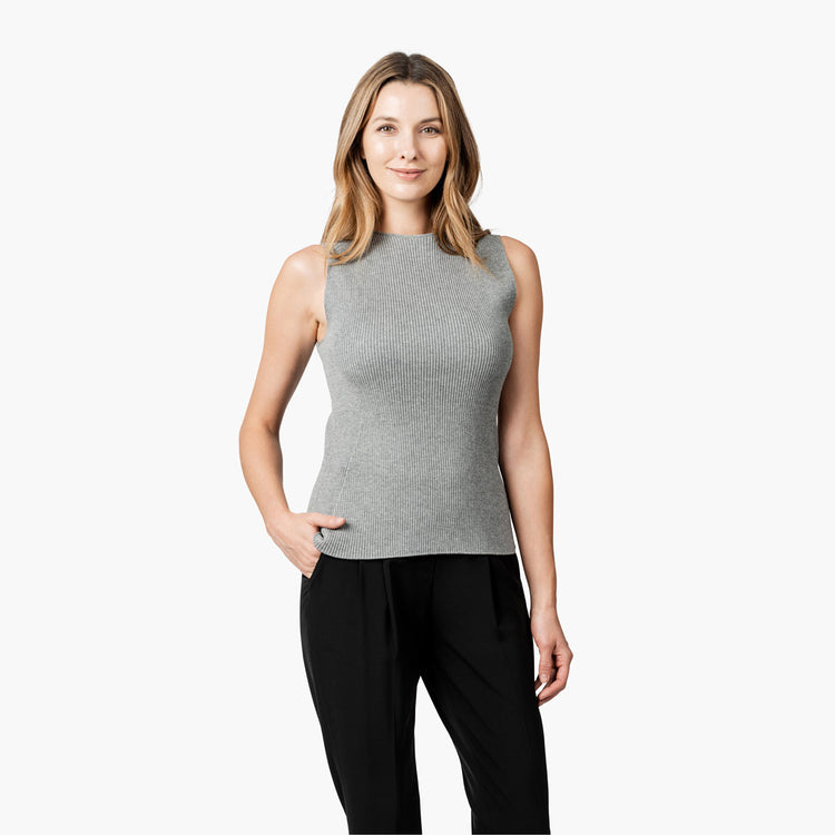 Women's 3D Print-Knit Tank - Light Grey