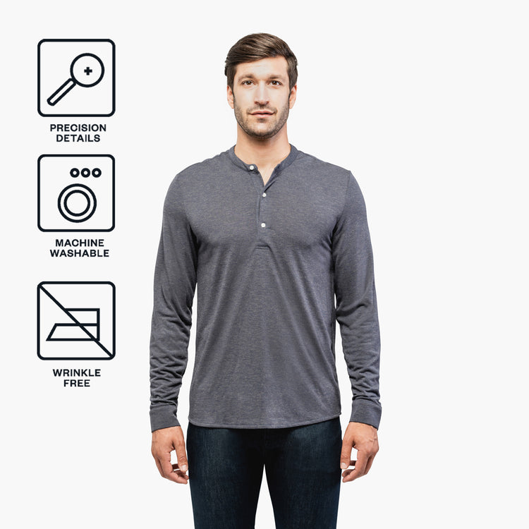 Men's Composite Merino Henley - Dark Grey