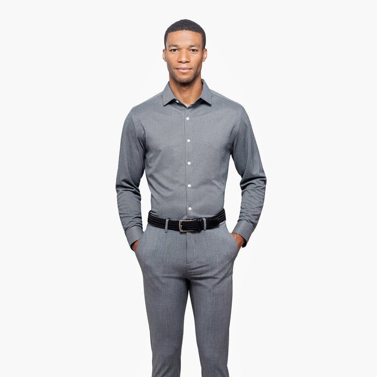 Apollo Dress Shirt - Charcoal Oxford Brushed