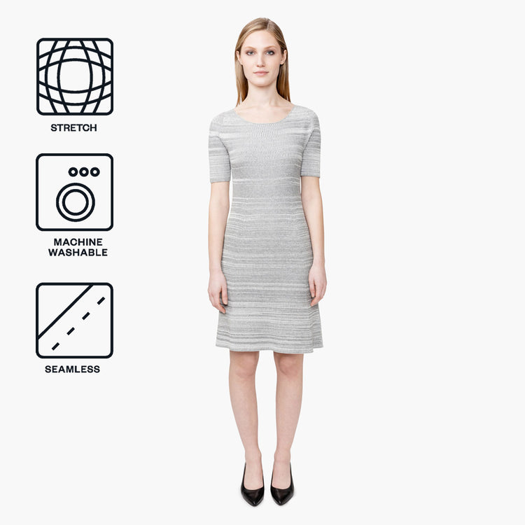 3D Print–Knit Sweater Dress - Barcode Grey
