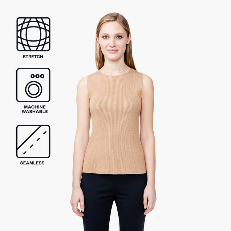 Women's 3D Print-Knit Tank - Latte