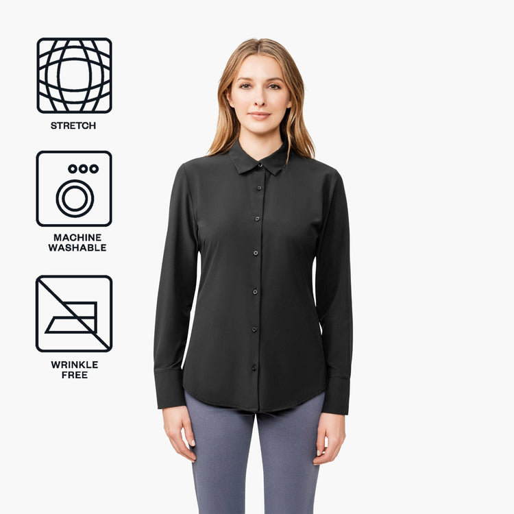 Women's Juno Tailored Dress Shirt - Black