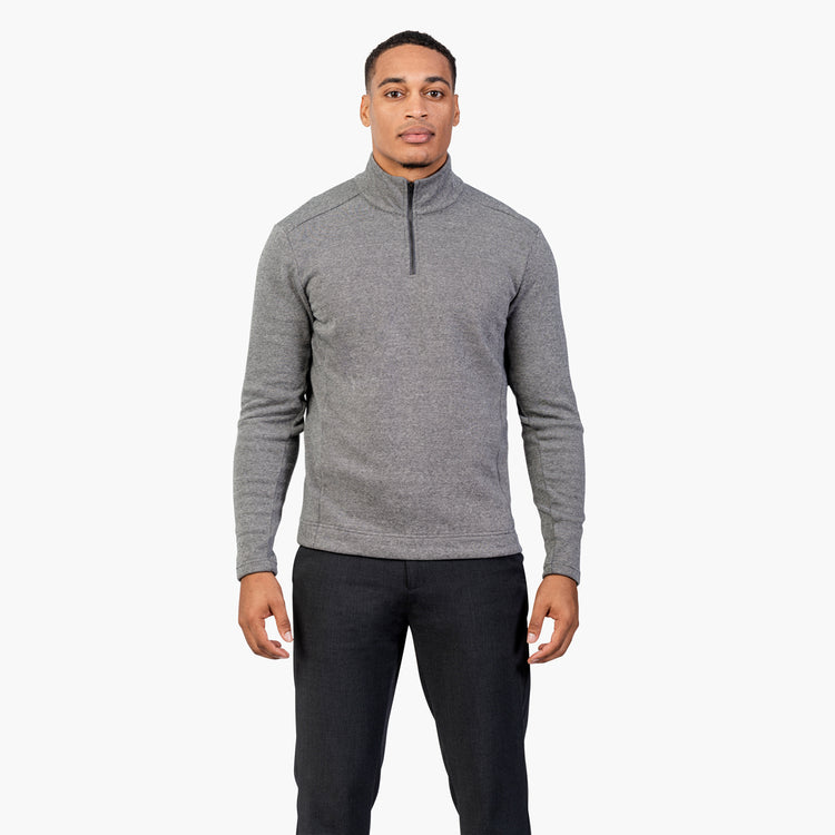 Men's Hybrid Fleece 1/4 Zip - Black & White Tweed