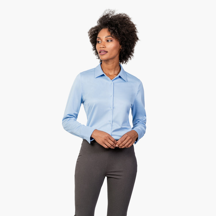 Women's Apollo Tailored Shirt - Light Blue Brushed