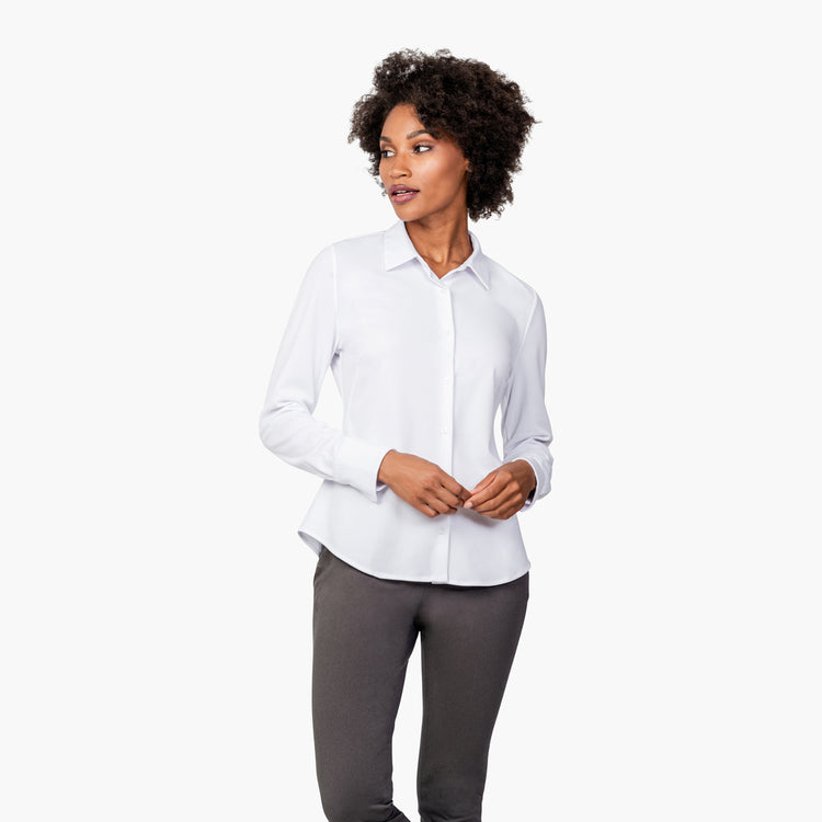 Women's Apollo Tailored Shirt - White Brushed